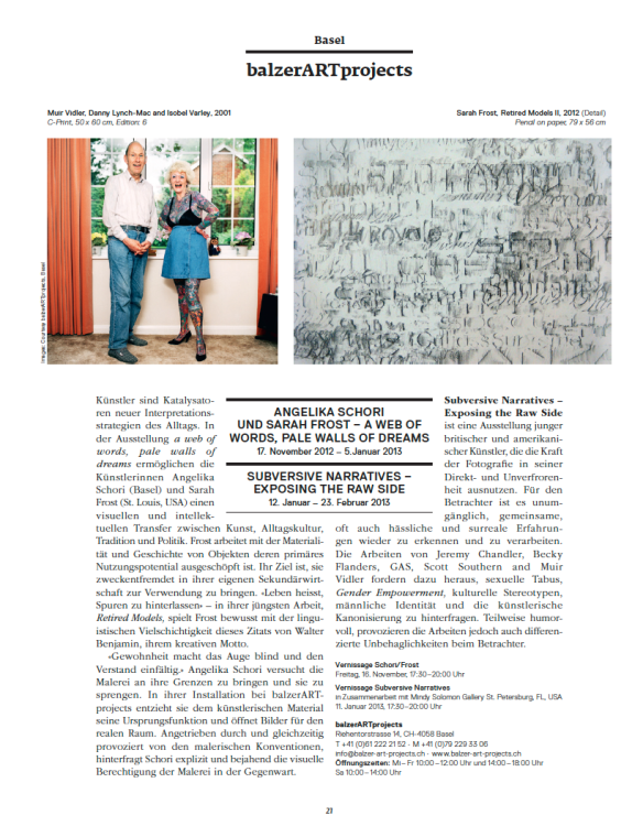 Mindy Solomon Gallery in Swiss Art Collector Magazine