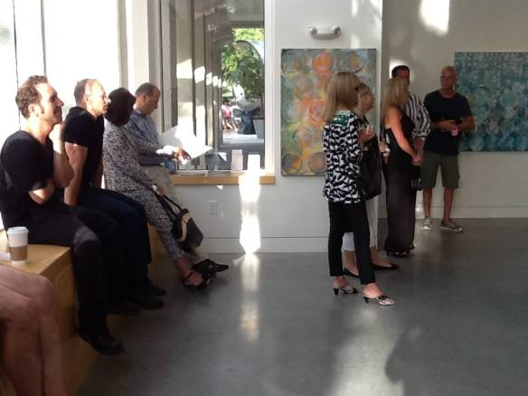 Gallery visitors enjoying the Arists Talk by Erin Parish during the Opening Night.