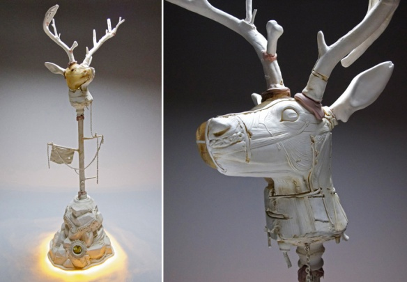 John Byrd // Untitled - (N)ever the Worst of Us // 2013 // 66 x 22 x 22 inches // Hand-built porcelain, taxidermy, mixed media
