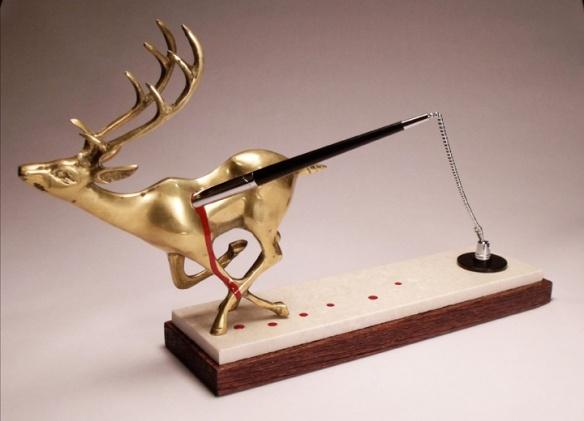 Jeremiah Jenkins // Deskset (Run on the Bank) // 2013 // 16 x 10 x 6 inches // Brass, stone, pen, paint, clock