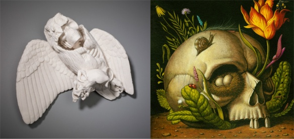"""(L) Kate MacDowell // Untitled // 2013 // 9 x 9 x 3.5"""" // Hand-built porcelain, cone 6 glaze  (R) Marc Burckhardt // Himmelblick // 2010 / 10 x 10"""" // Acrylic and oil on wood panel"""