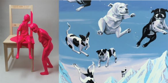 "(L) Christina West // Untitled (Standing Female & Seated Male in T-Shirt) // 2012 // 27.5 x 9 x 17"" // Painted aqua resin (R) Christopher Winter // Dog Fight // 2012 // 47 x 67"" // Acrylic on canvas"