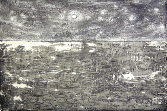 Sungyee Kim // Ocean Breathing Light // 2007 // 24 x 36 inches // Sumi ink and mixed media on panel