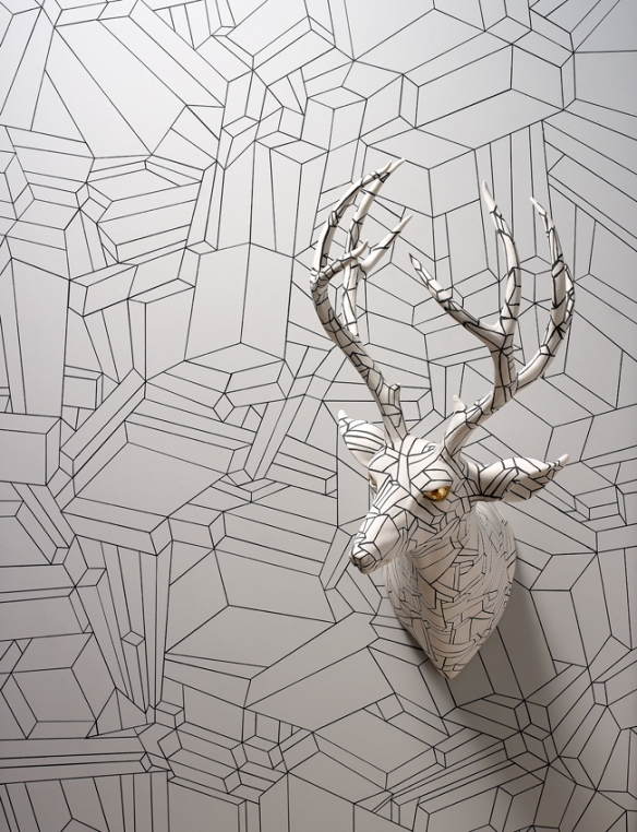 Wookjae Maeng // Camouflage Deer // 2013 // 9.4 x 11.8 x 20 inches // Porcelain and wood