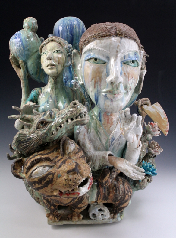 Sunkoo Yuh // Guardians // 2012 // 26 x 21 x 20 inches // Porcelain, cone 10, glazed