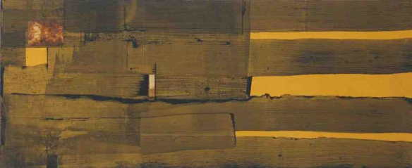 Marc Lambrechts // Camouflage III // 2010 // 13.5 x 32 inches // Mixed media on wood