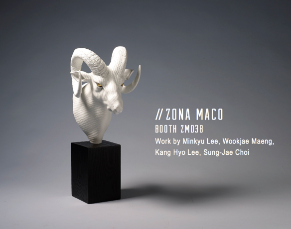 Wookjae Maeng // Adaption 3 Big Horn Sheep // 2013 // 8.2 x 10.6 x 18 inches // Porcelain and wood