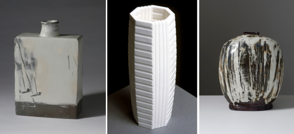 (L-R) Sung-Jae Choi // Bunchong Jar // 2013 // 27 x 12 x 17 cm // White slip and finger drawing with incised duck pattern Minkyu Lee // Stripes // 2013 // 10.5 x 4 x 4 inches // White slip-cast porcelain Kang Hyo Lee // Puncheong Flat Bottle (A Waterfall) // 2013 // 11.5 x 7 x 15 inches // Ceramic with ash glaze