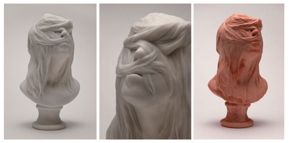 Christina West // Untitled Bust // 2014 // 17 x 9 x 9 inches // Cast marble // Pink Bust // 2014 // 17 x 9 x 9 inches // Pigmented hydrocal