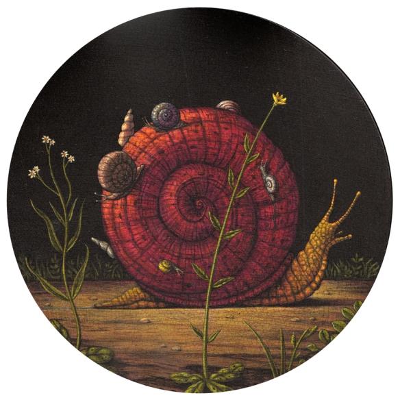 Marc Burckhardt // Moirai //  2014 // 10 inch diameter // Acrylic and oil on wood panel
