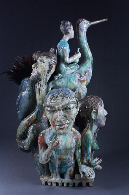 Crane Rider // 2010 // Porcelain, Glazed, Cone 10 // 34 x 18 x 17 inches