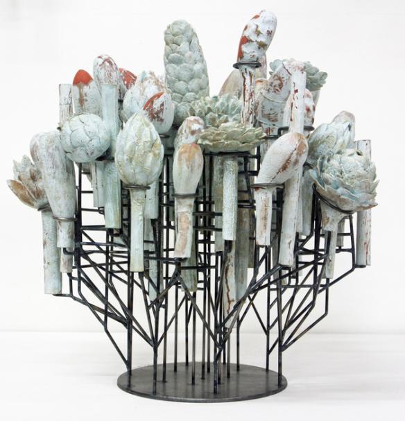 David Hicks // Still Life (Blue Bloom) // 2014 // 23 x 24 x 23 inches // Ceramic and steel
