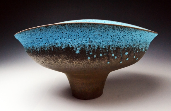 Jeremy Briddell // Bronze Turquoise Bowl // 2014 // 9 x 16.5 x 12.25 inches // Electric-fired cone 5 terra cotta