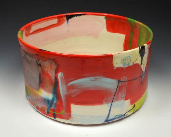 Lauren Mabry // Cylinder 2 // 2014 // 6 x 12 x 12 inches // Red earthenware, slips, glaze