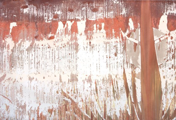 Alejandro Contreras // Fire Stinguisher Paint Peeling Off the Wall // 2014 // 144 x 95 inches // mixed media on canvas