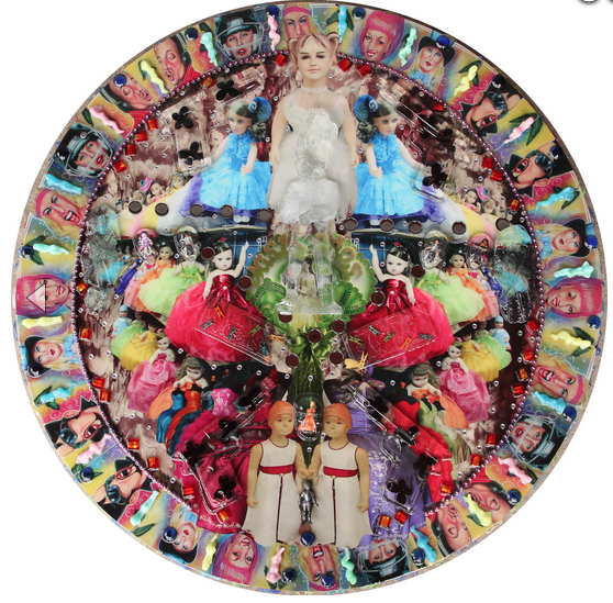Quinceanera (debutante) // 2012 // 42 x 42 x 5 inches //  Sand cast glass, resin casts, digital print and mixed media