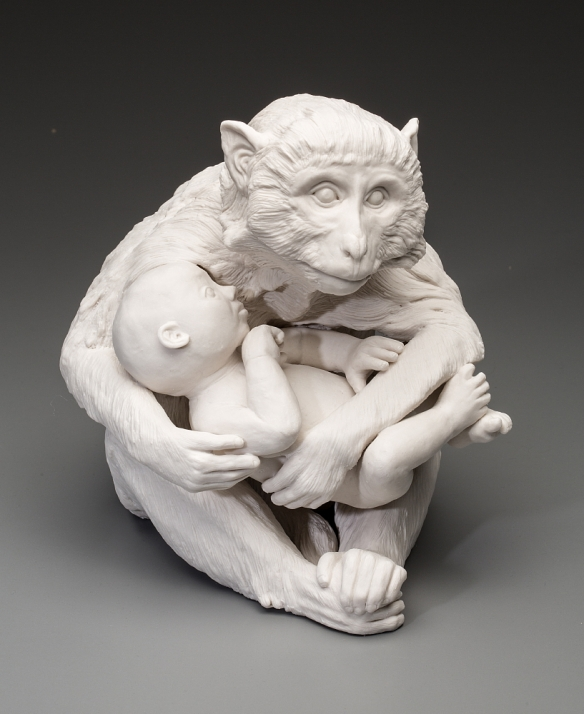 Kate MacDowell // Nursemaid 1 // 2015 // 11 x 8.5 x 11 inches // pedestal piece / Hand-built porcelain, glaze