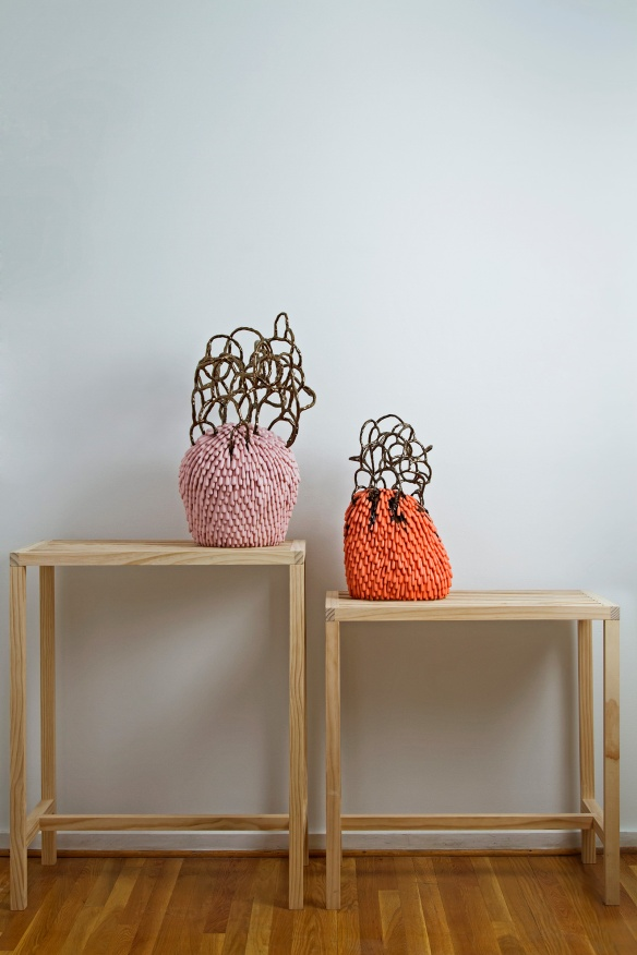 inda Lopez // Objects made to be rejected, 2014, 66 x 62 x 18 inches, Ceramic and wood