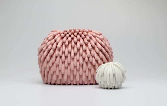 Linda Lopez // Untitled (Pink Mound and White Mound), 2015, 7.5 x 9 x 7 and 3 x 3.5 x 3. 5 inches, Ceramic