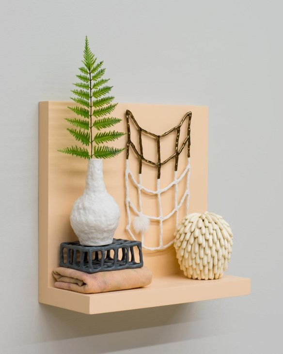 Linda Lopez // Someone Somewhere // 2015 17.5 x 18.5 x 7.5 inches // Ceramic, fabric, wood, paint, and frond