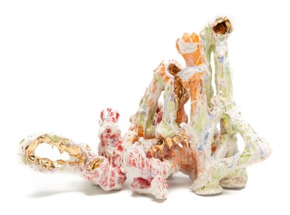 Andrew Casto // Assemblage 80 // 2015 // Ceramic, luster // 15 x 7 x 11 inches