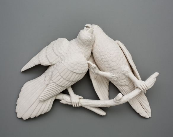 Kate MacDowell Bird Duo 1, 2016 porcelain 12 x 8.5 x 3 inches