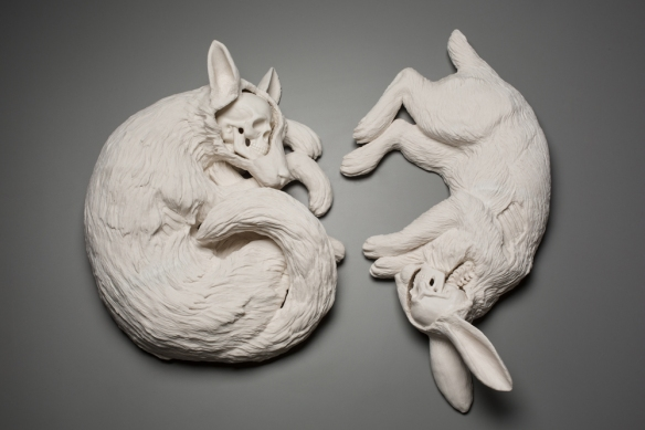 Kate MacDowell Untitled (Fox), 2016 // hand built porcelain, glaze // 16 x 14 x 5 inches Untitled (Rabbit), 2016 // hand built porcelain, glaze // 22 x 11 x 5 inches