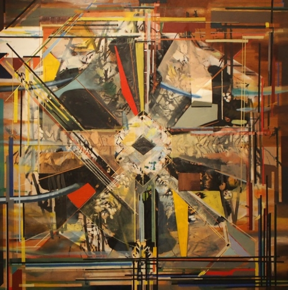 Richard Sanchez // Earthbound 82 x 80 inches, oil wax and paper on panel