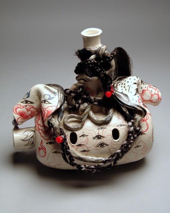 "Jiha Moon Hers, 2016 Porcelain, underglaze, glaze, Synthetic hair, hand knots, wire, plastic beads 10"" x 9"" x 5.5"""