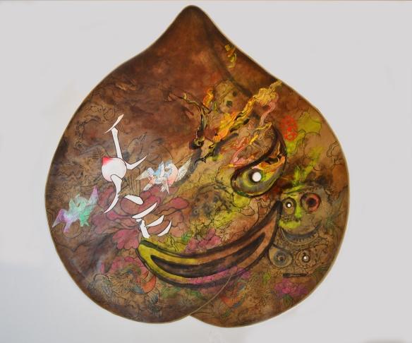 """Jiha Moon Peach Mask III, 2016 Ink and Acrylic on Hanji 41"""" x 39"""""""