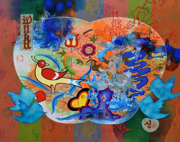"""Jiha Moon Welcome, 2016 Ink and Acrylic on Hanji on Fabric mounted on Panel 16"""" x 20"""""""