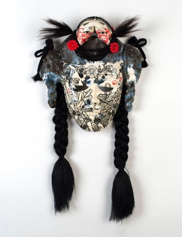 Jiha Moon, Anang, 2015, earthenware, underglaze, glaze, wire, synthetic hair, plastic barrette, 14.5 x 12 x 4.5 inches